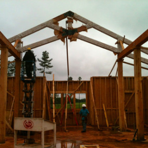 Heavy timber being constructed