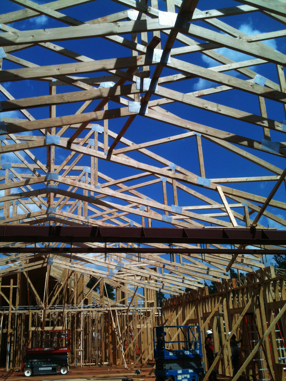 Wood framing in the Dining Hall